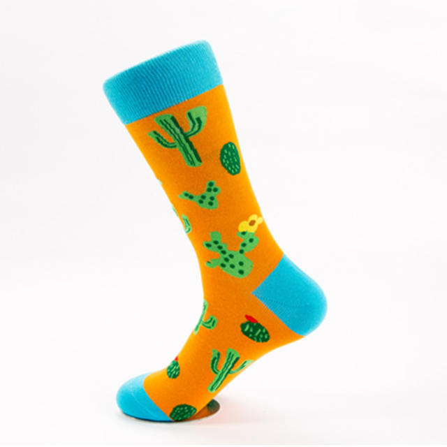 PEONFLY New Print Animals Plant Cute Cartoon Panda Octopus Whale Cactus Pattern Personality Pirate Flag Fashion Men Cotton Socks