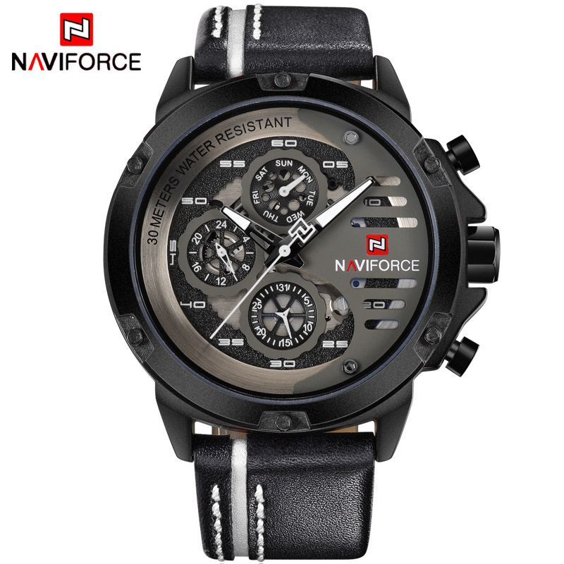 Luxury Man Watch Sport Mens Watches Top Brand LuxuryMilitary Army Genuine Leather Quartz Male Clock <font><b>NAVIFORCE</b></font> <font><b>9110</b></font> image