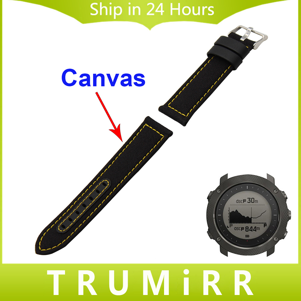 24mm Canvas + Genuine Leather Watchband for Suunto TRAVERSE Watch Band Fabric Strap Wrist Belt Bracelet Black Brown with Tool