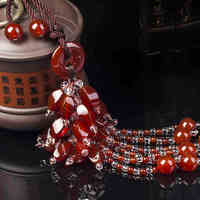 High Quality Real Agate Red Jade Car Ornaments For The Mirror Hanging Pendant Interior Decorations Chinese