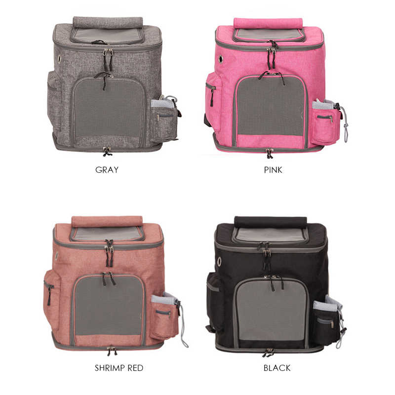 Pet Cat Outdoor Handbag Travel Carrier Packbag Portable Zipper Mesh Backpack Breathable Dog Bag 4 Colors Pink Pet Dog Carriers