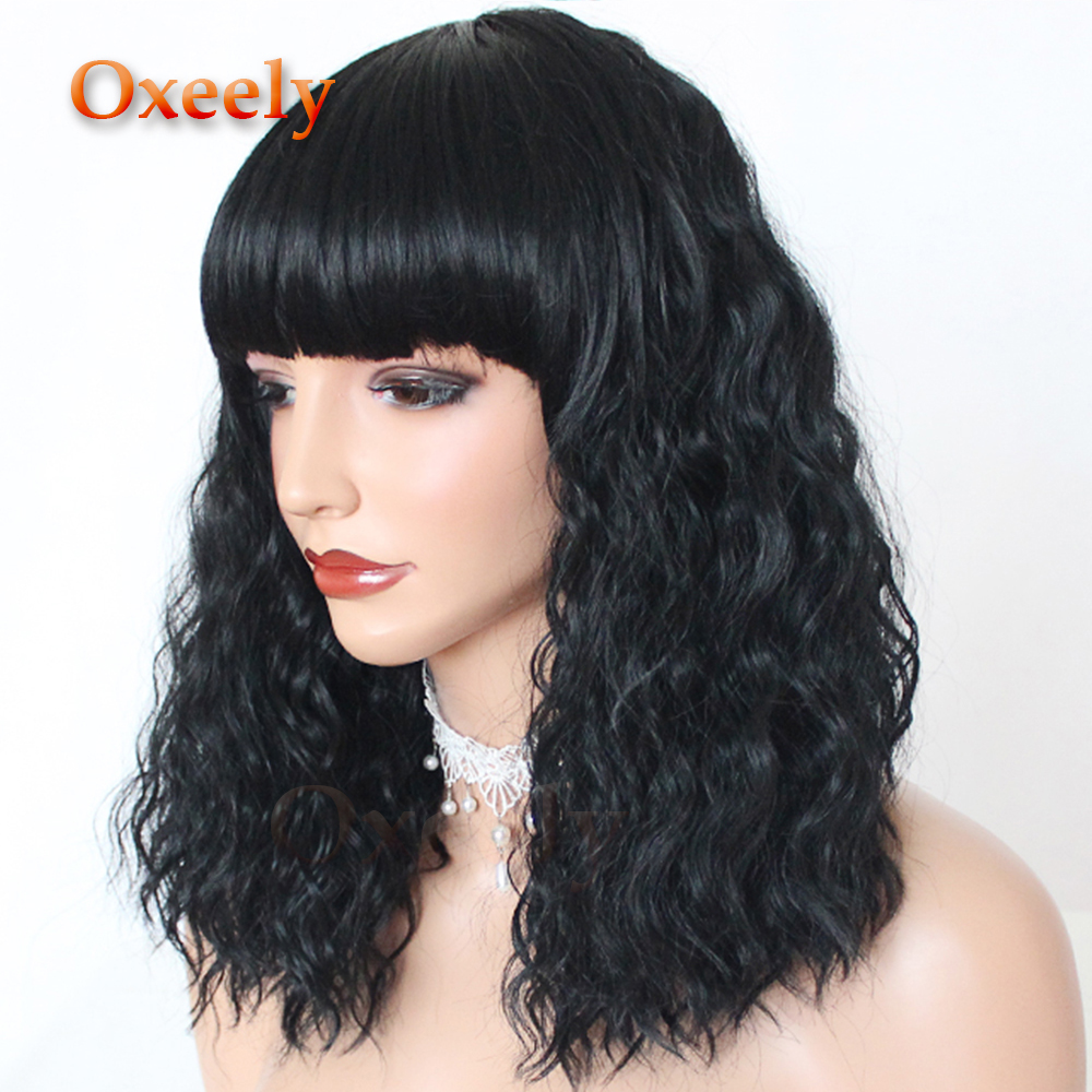 Oxeely Bob Cut Curly Wig Synthetic Hair Full Wigs Black Short Loose