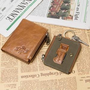 Image 4 - 연락처 정품 가죽 RFID 남자 지갑 신용 카드 소지자 지갑 동전 주머니 키 남자 체인 walet 남성 걸쇠 지갑