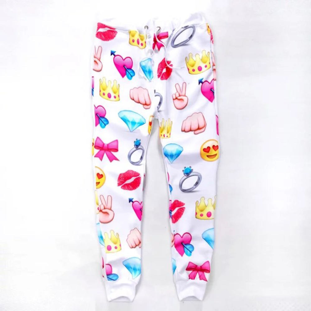 2017 New fashion Women/men Fall emoji joggers 3d sweatpants print diamonds/heart/Victory ...