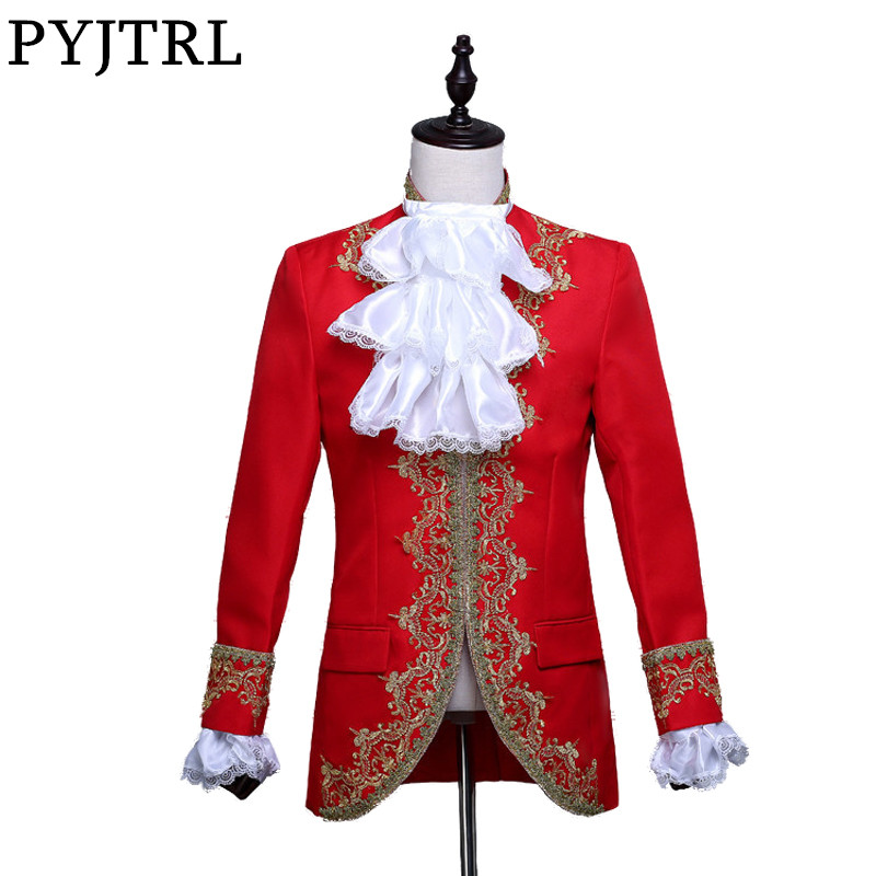 PYJTRL Men Classic Palace Blazer Masculino Red White Black Embroidery Stage Singer Wedding Suit Jacket With Flower Collar Sleeve