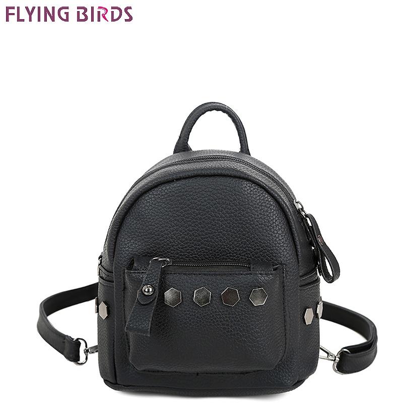 FLYING BIRDS Rivet Mini Mochila Women Backpack Leather Backpacks Teenage Girls School Bag Travel Bag High Quality Design Bookbag
