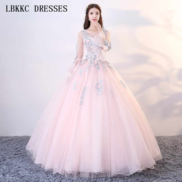 4f9344d2896 Light Pink Quinceanera Dresses Long Sleeve Ball Gown Tulle With Appliques  Vestidos De 15 Anos Flare Sleeve Sweet 16 Dresses