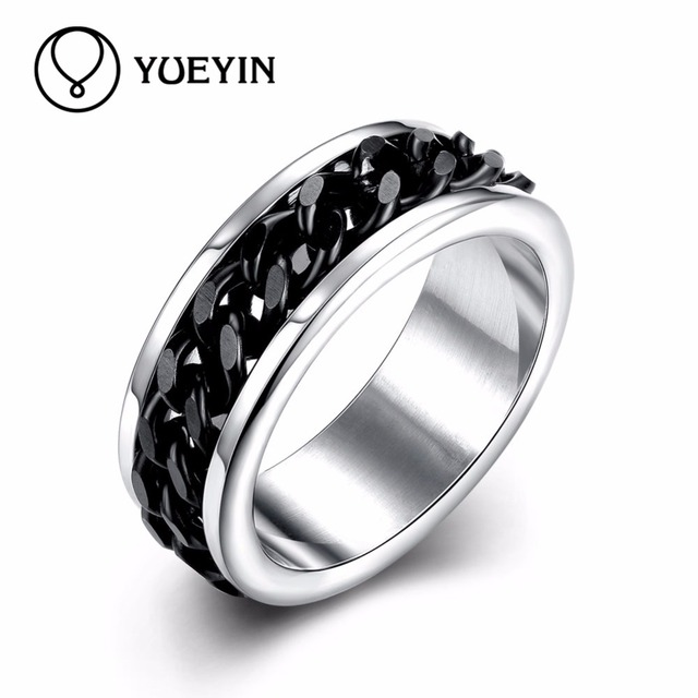 Cutting Dies Anillos Acero Inoxidable Mujer Black Stainless Steel Chain  Rings For Mens Jewelry Masculino Male Ring Size 7 8 9 10 c9e40793886