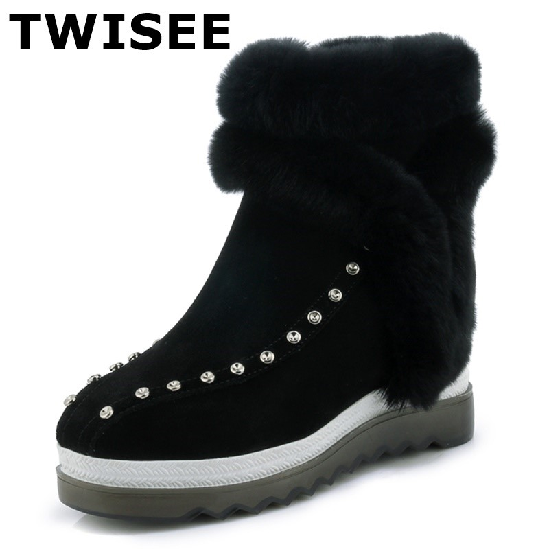 TWISEE Hot Sale Cow Suede Shoes Women Boots Rivet Slip-On Soft Cute Women Snow Boots Round Toe Flat with Winter Fur Ankle Boots snow fur slip on fashion round toe winter boots women ankle flat shoes celebrity gray bow booties chinese female short new
