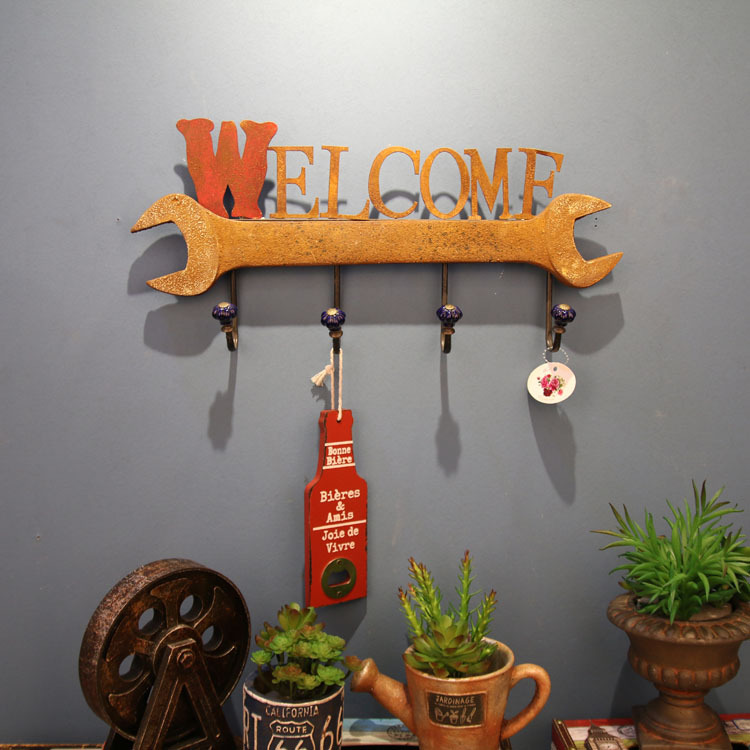 American Creative Decorative Coat Hat Hook Vintage Clothing Store Row Hook Wall Loft Industrial Wind Hook Letters Hat Coat Rack