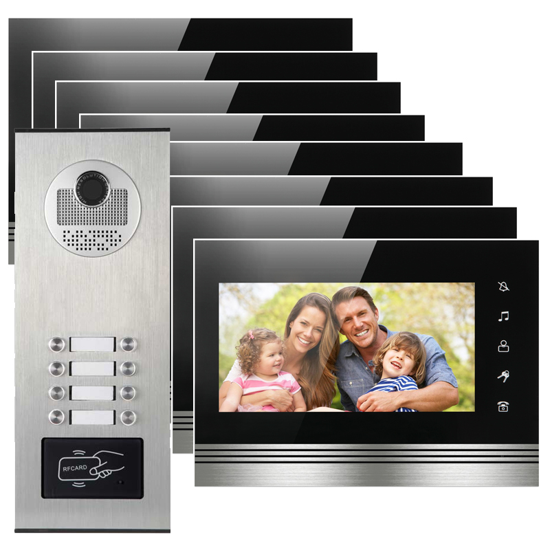 8 appartements portero electronico con camara deurbel met caméra boîtier en alliage d'aluminium visiophone avec lecteur de carte RFID