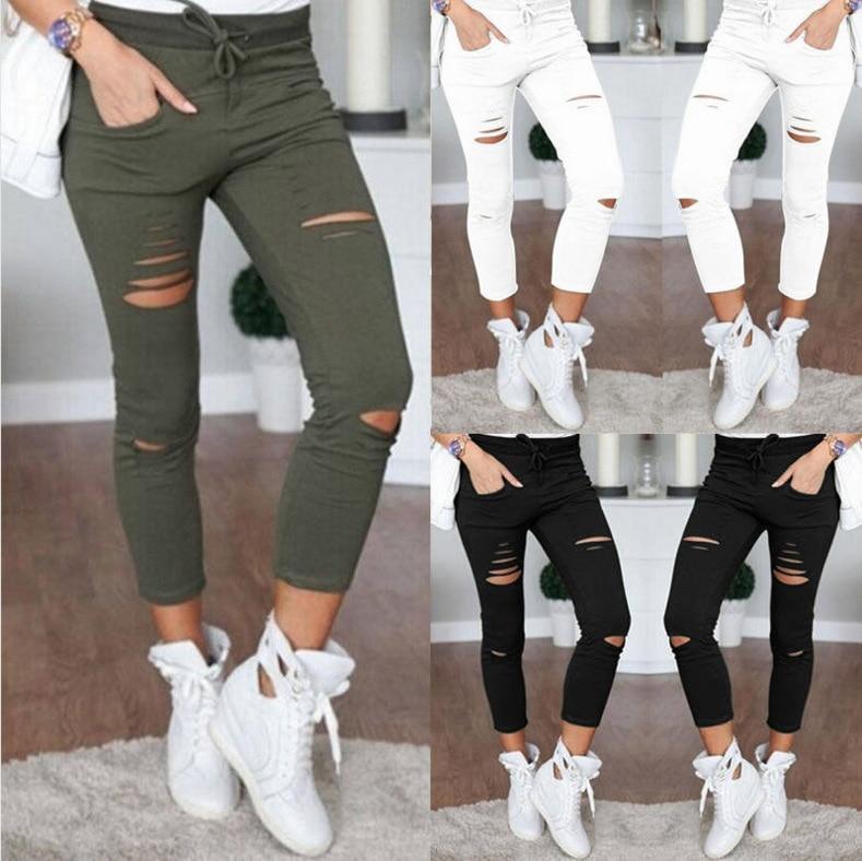 2019 Summer Women Skinny Cut Pencil Pants High Waist Stretch Jeans Trousers Casual Fashion Cotton Pants Slim Legging White Black 10