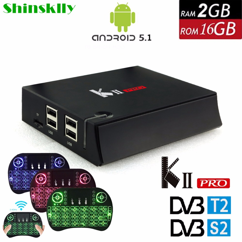 Shinsklly KII Pro DVB-T2 DVB S2 Smart TV Box Android 5.1 Amlogic S905 Quad-core RAM 2GB+16GB 2.4G/5G Wifi 4K HD Media Player mecool kii pro tv box dvb t2 dvb t2 s2 amlogic s905 quad core 2gb 16gb android 5 1 tv box bluetooth 2 4g 5g wifi set top box
