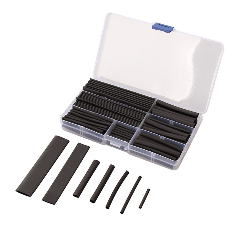 150pcs 2:1 Heat Shrink Tubing Tube Sleeving Wire Cable 8 Sizes 2-13mm Black недорого
