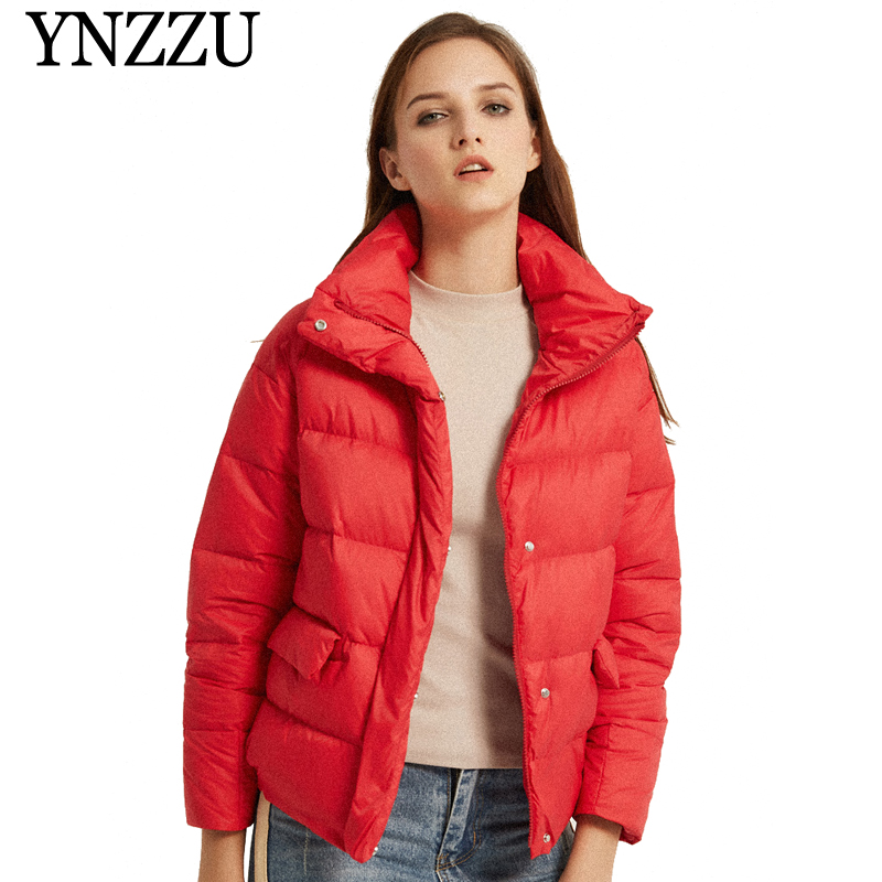 High Quality 2019 Spring Women's   Down   Jacket Solid Blue Casual 90% White Goose   Down     Coat   Stand Collar Warm Female Jacket AO802