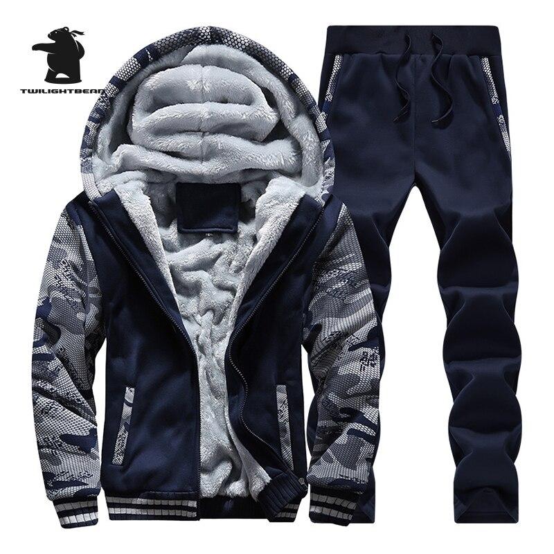 Designer Winter Mens Hoodies Male Tracksuits Fleece Thick Male Sweatshirt Casual Men Cam ...