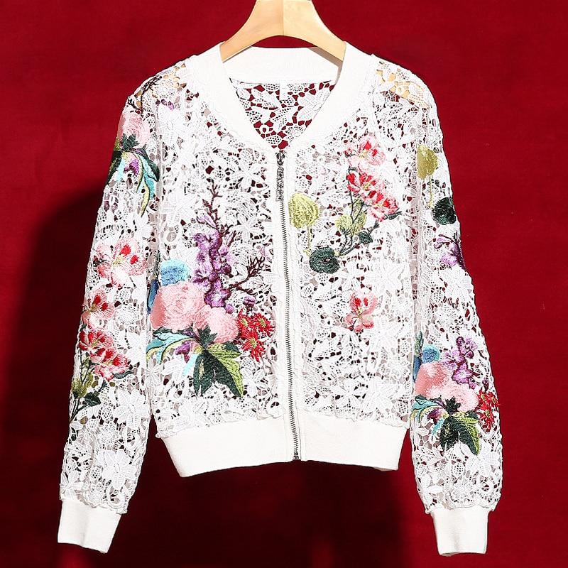Red roosarosee 2019 뜨거운 판매 패션 활주로 디자이너 outwear 여성 우아한 꽃 자수 hollow out luxury coat short jacket-에서베이식 쟈켓부터 여성 의류 의  그룹 1