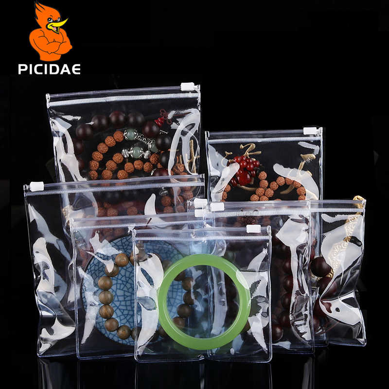 Pvc zipper lock Transparent jewelry bag Anti-oxidation discoloration soft Reseal Ring bracelet earring brooch jade Emerald pearl