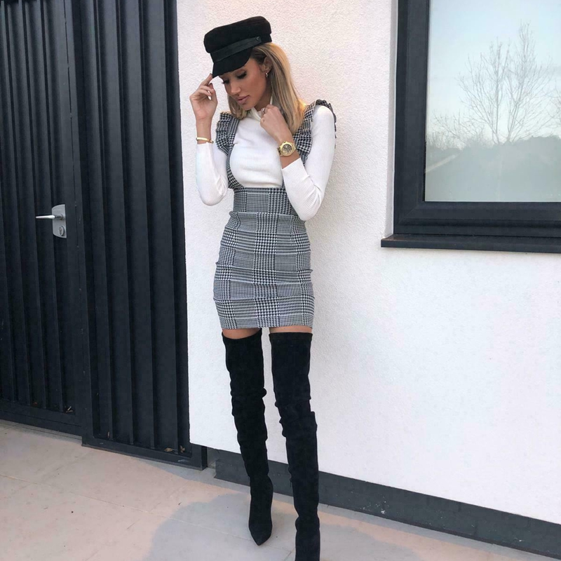 Elegant Plaid Ruffles Suspender Skirt Womens Bodycon 2 Styles High Waist Mini Pencil Skirt