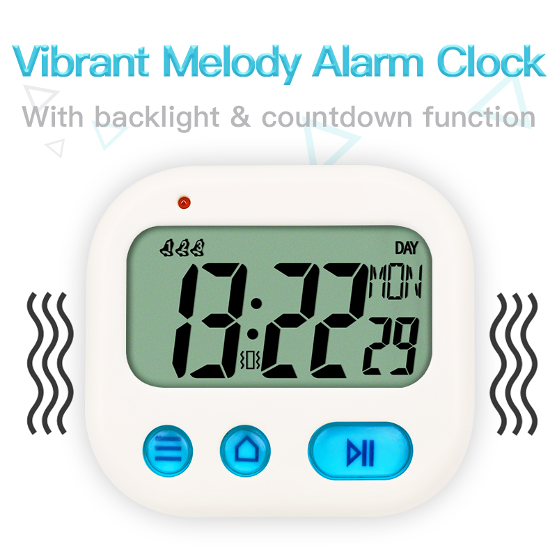 TXL Vibration kids loud Alarm Clock Digital Full Vision LCD Kitchen Timer Countdown Travel Snooze multi-functional mini Clock