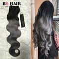8A Unprocessed Silver Grey Ombre Human Hair Extensions BQ Hair 1B/Grey Ombre Malaysia  Virgin Hair  3 Bundles Hair weave
