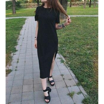 803d82d495 Verano Maxi vestido T camisa mujeres playa Casual fiesta Boho Vintage Sexy  vendaje Bodycon Club elegante negro largo vestidos tamaño