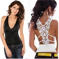 FS Hot 2016 New Fashion Summer Women Tank Top Sexy Croceht Lace Tops Deep V Neck Back Hollow Out Woman Vest Camisole Lace Shirts