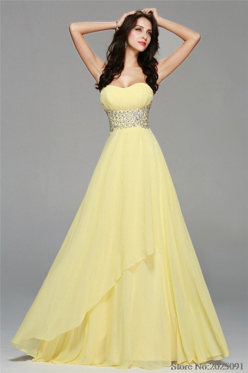 2019 chiffon lange prom kleider gelb abendkleid kristall perlen gürtel  abendkleid pary kleid strand brautjungfer kleider