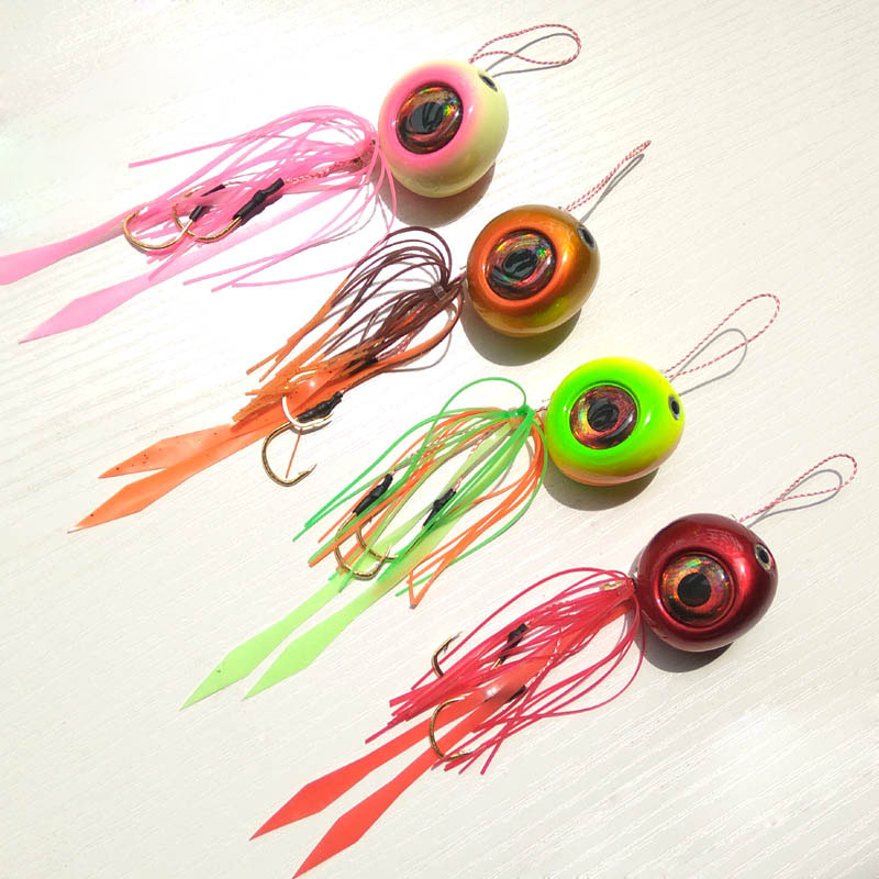 4pcs 135g/100g/80g/60g/40g Kabura Pesca Slider Snapper/Sea bream Jig head with skirt lead jig <font><b>jigging</b></font> <font><b>lure</b></font> free shipping image