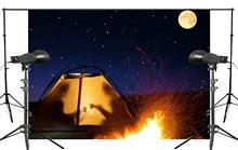 كامل القمر ليلة النار خيمة خلفية لم شمل المشهد صور استوديو خلفية 7x5ft خلفيات للتصوير الفوتوغرافي الجدار