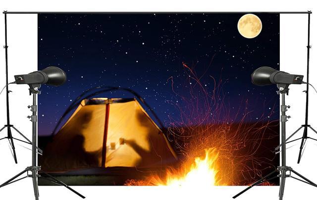 満月の夜火災テント背景再会シーン写真スタジオの背景 7x5ft 写真撮影の背景壁