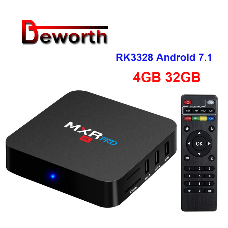 4 GB RAM 32 GB RK3328 MXR PRO Android 7.1.1 Smart TV Box Quad Core 2.4 GHz WiFi VP9 H.265 3D HDMI USB3.0 MXRpro HDR 4 K lecteur multimédia