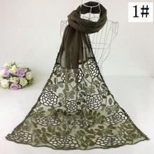 Один pc цветочный кружевной простой модный шарф женский длинный шарф мусульманские платки хиджаб роскошный стиль