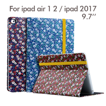 "For New iPad 2017 PU Leather Case 9.7"" Flower Print Protective Stand For Apple iPad air 1 2 Tablet Smart Cover Dormancy Fundas"