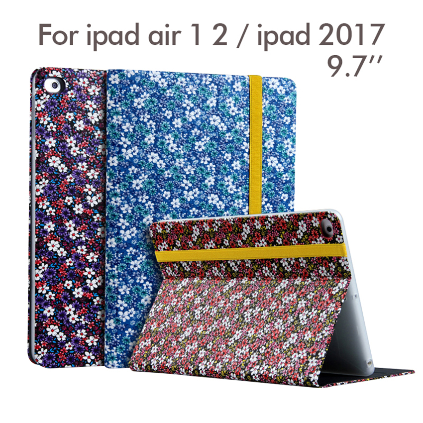 For New iPad 2017 PU Leather Case 9.7'' Flower Print Protective Stand For Apple iPad air 1 2 Tablet Smart Cover Dormancy Fundas