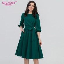 ae24f522682 S. FLAVOR 2018 женское модное винтажное платье зеленое с круглым вырезом  элегантное платье трапециевидной вечерние формы с пышны.