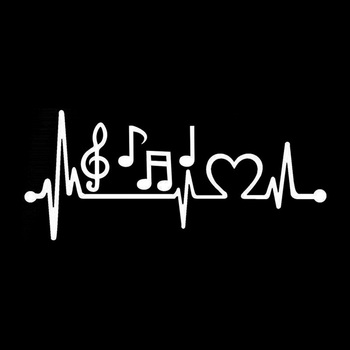 Musical Note Electrocardiogram Heartbeat Car Styling Window Laptop Sticker Decal PET Reflective Material 2