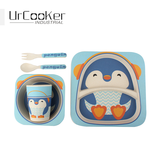 High-quality Cute penguin bamboo fiber environmental protection children tableware high quality 5 pieces in  sc 1 st  AliExpress.com & High quality Cute penguin bamboo fiber environmental protection ...