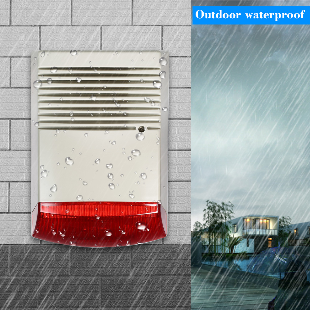 Wired Strobe Siren Sound Light Alarm Horn Alarm Sound Speaker Smoke Alarm Outdoor Waterproof Alarm Systems Security Home