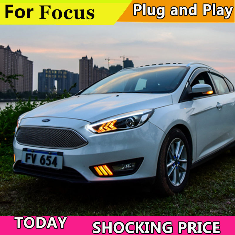 Car Styling Headlights for Ford Focus 2015 2018 LED Headlight for Focus Head Lamp LED Daytime