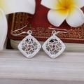 purple stone square E505S# 2014 Fashion Sale silver earrings brincos beautiful earring
