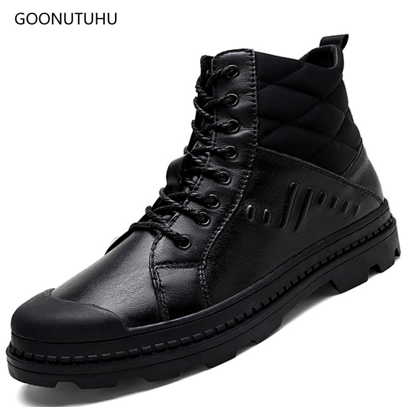 2018 winter men's boots military casual work & safety shoes genuine leather army plus size shoe man new ankle snow boots for men plus size 36 46 genuine leather women ankle boots hiking shoes women work safety shoes