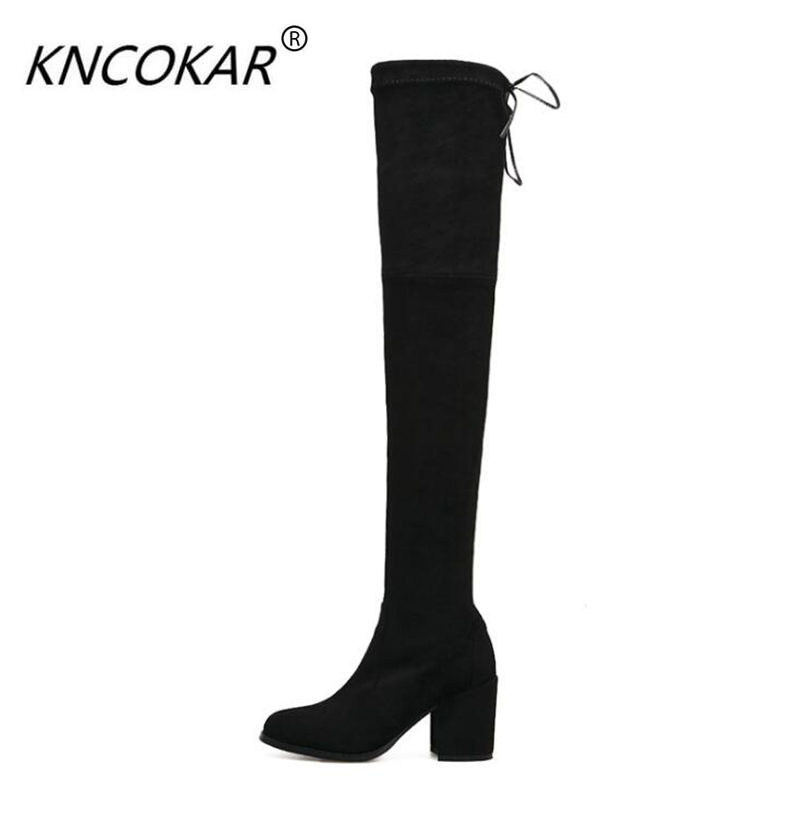 KNCOKAR Autumn winter 2018 stretch boots new style over knee women thick heel round head tie over knee boots leather bootsKNCOKAR Autumn winter 2018 stretch boots new style over knee women thick heel round head tie over knee boots leather boots