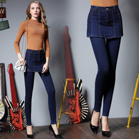IASKY Plus Size Girl Pencil Jeans Pants with One Sets Blue Denim Overalls Button Skirts Jean Pants Stretch Denim Pants Female