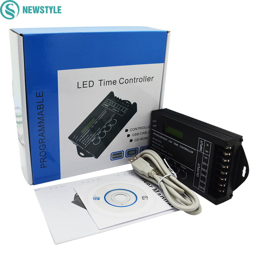TC420 Time Programmable RGB LED Controller DC12V-24V 5Channel LED Timing Dimmer Total Output 20A Common Anode with PC USB Wire