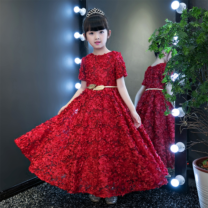 Appliques Summer Wedding Dress Kids Evening Party Gown Flower Girl Dress Princess Dresses Children Ball Gown Short Sleeve A151