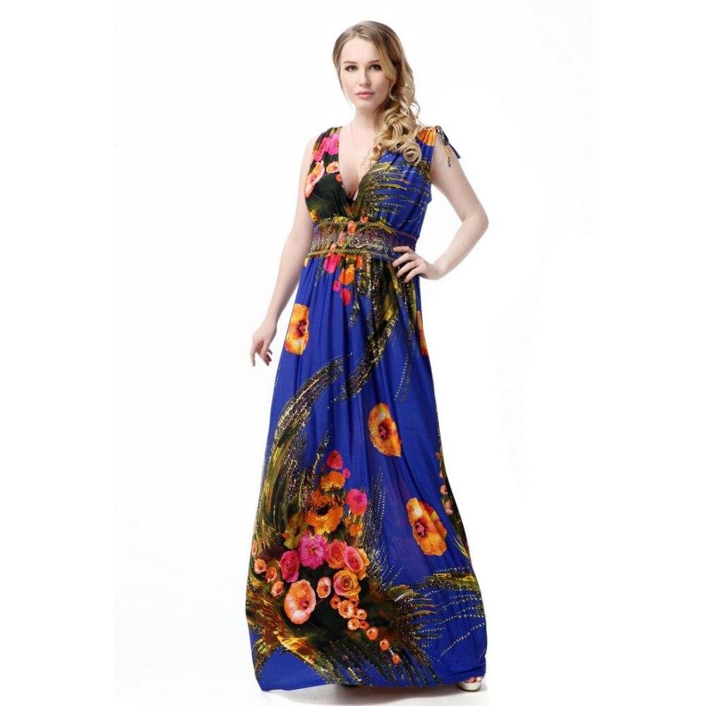 452c1d7edec 2018 Brand Summer Bohemian Dress Boho Floral Print Big Size Beach Long  Dresses Women Sexy Floor Length Sexy Hawaiian Dresses