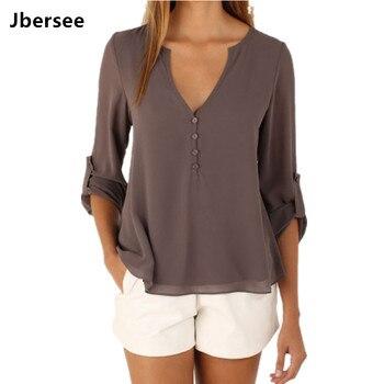 Jbersee 2018 Sommer Frauen Beiläufige Dünne Sexy Langarm Chiffon Bluse Frauen Kleidung Dame Shirts Tops Blusas Plus Größe S-5XL