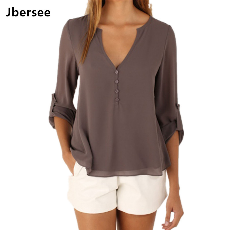 Jbersee 2018 Summer Women Casual Slim Sexy Long Sleeve Chiffon   Blouse   Women Clothes Lady   Shirts   Tops Blusas Plus Size S-5XL