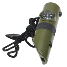 Outdoor EDC 7 in 1 Multifunctional Military Survival Kit Magnifying Glass Whistle Compass Thermometer LED Light 10pcs